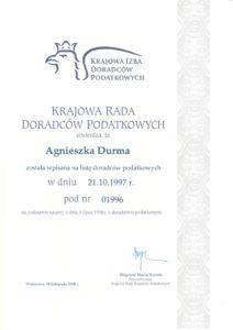 Certyfikat Krajowej Rady Doradców Podatkowych