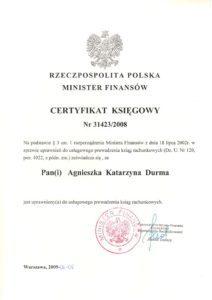 Certyfikat Księgowy Ministra Finansów